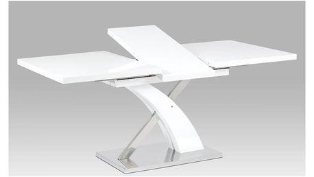 Rozkládací jídelní stůl HT-999 WT bílá mat / nerez Autronic