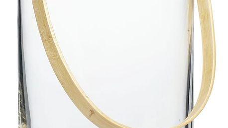 Hübsch Skleněná váza Bamboo handle, čirá barva, sklo, dřevo