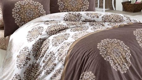BedTex Bavlněné povlečení Oskar hnědá, 140 x 220 cm, 70 x 90 cm, 50 x 70 cm, 140 x 220 cm, 70 x 90 cm