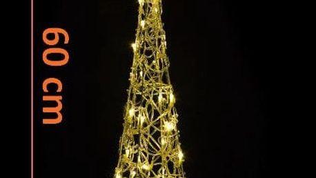 Nexos 5976 Vánoční dekorace - Akrylový kužel - 60 cm, teple bílé na baterie