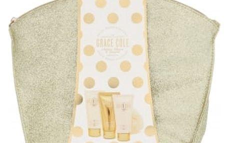 Grace Cole Nectarine Blossom & Grapefruit dárková kazeta pro ženy sprchový gel Refreshing 100 ml + tělový krém Smoothing 100 ml + tělový peeling Exfoliating 100 ml + mycí houba + kosmetická taška