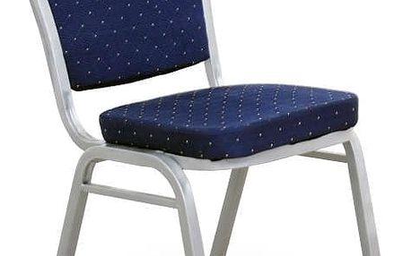 Židle, stohovatelná, látka tmavě modrá/šedý rám, JEFF 2 NEW