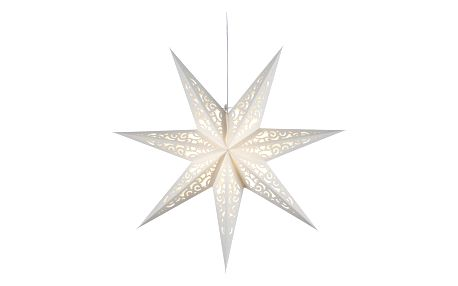 STAR TRADING Závěsná svítící hvězda Lace White 44 cm, bílá barva, papír