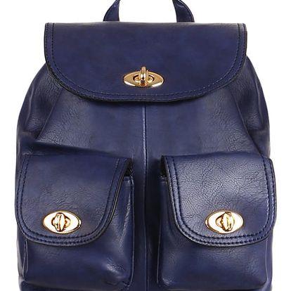 Koženkový retro batůžek modrá