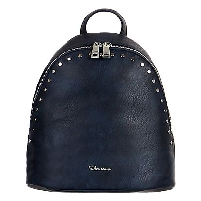 Malý koženkový batoh s cvočky modrá