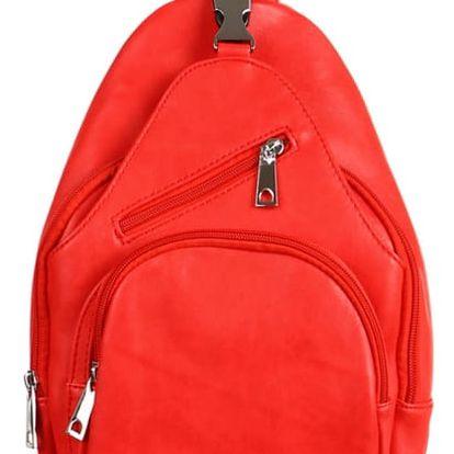Malý koženkový batůžek červená