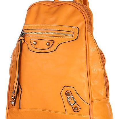 Malý koženkový batoh s přední kapsou žlutá