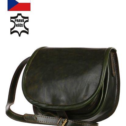 Malá lovecká kabelka z pravé kůže - Český výrobek zelená