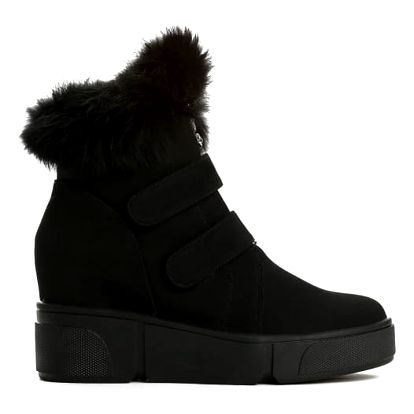 Dámské černé kotníkové boty na klínku France 3139