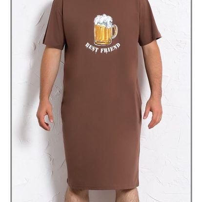 Pánská noční košile s krátkým rukávem Velké pivo modrá XXL