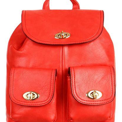 Koženkový retro batůžek červená