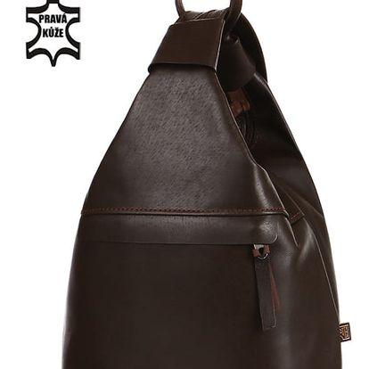 Batoh/kabelka 3v1 z pravé kůže - malý - Česká výroba tmavě hnědá