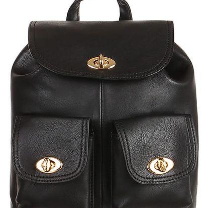 Koženkový retro batůžek černá