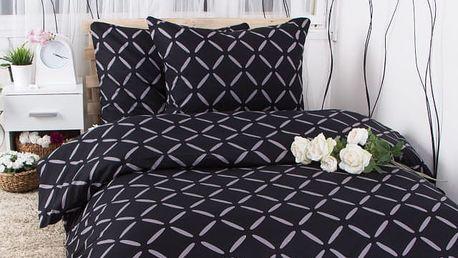 XPOSE ® Francouzské bavlněné povlečení KRISTÝNA EXCLUSIVE - černá 200x220, 70x90