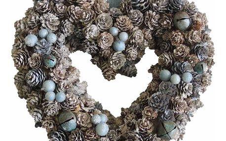 StarDeco Dekorativní věnec Srdce modrá, 33 cm