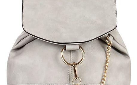 Malý koženkový batůžek s řetízkem šedá
