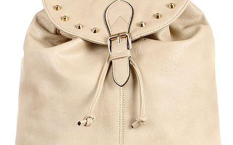 Koženkový batoh se zlatými cvočky světle béžová