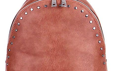 Malý koženkový batoh s cvočky růžová