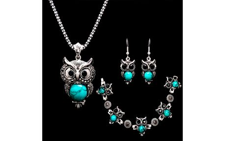 Sada šperků se sovičkami - tyrkysová barva - dodání do 2 dnů