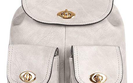 Koženkový retro batůžek šedá