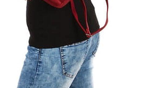 Dámský koženkový batůžek červená