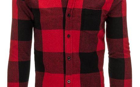 Pánská červená károvaná flanelová košile (dx1151) Barva: Červená, Velikost: XXL