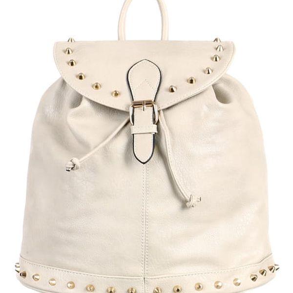 Koženkový batoh se zlatými cvočky šedá