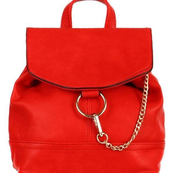 Malý koženkový batůžek s řetízkem červená