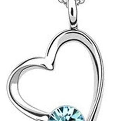 Přívěsek srdce s krystalem Swarovski včetně řetízku a dárkový měšec zdarma.
