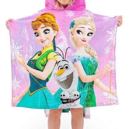 Jerry Fabrics Dětské pončo Ledové království Frozen pink 2017, 60 x 120 cm