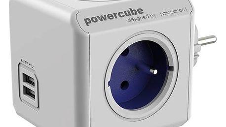 Zásuvka Powercube Original USB, 4x zásuvka, 2x USB bílá/modrá