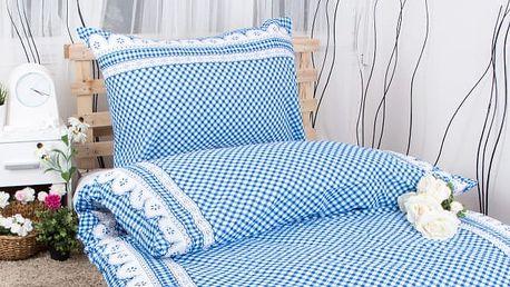 XPOSE ® Prodloužené krepové povlečení APOLENA - modrá 140x220, 70x90