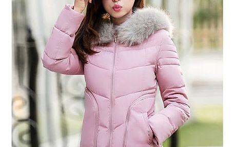 Dámská bunda s kožíškem na kapuci - různé barvy