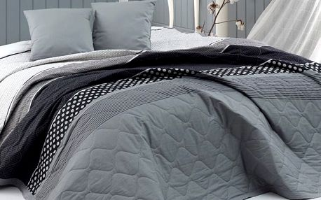 BedTex Přehoz na postel Eifel šedá, 220 x 240 cm, 2x 40 x 40 cm