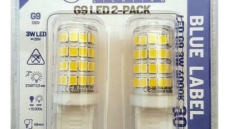 Žárovka LED Tesla bodová, 3W, G9, teplá bílá (G9000340-5PACK ) bílá