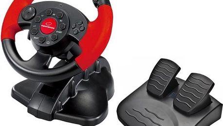 Volant Esperanza EG103 High Octane pro PC, PS1, PS2, PS3 + pedály (EG103) černý/červený