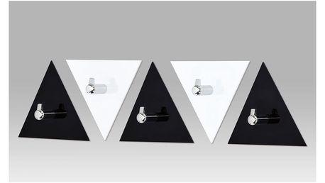 Set (5ks) nástěnných věšáků, černý a bílý akrylát / chrom GC3511-5