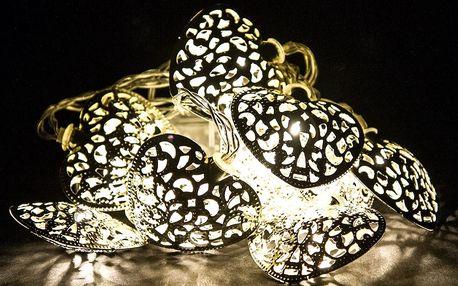 Světelný LED řetěz Heart, stříbrná