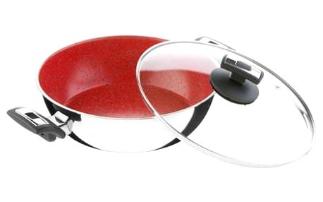 KOLIMAX CERAMMAX PRO COMFORT pánev 26 cm s úchyty, se skleněnou poklicí, vysoká, granit červená