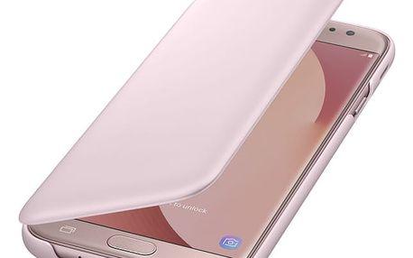Pouzdro na mobil flipové Samsung Wallet Cover pro J5 (2017) (EF-WJ530CPEGWW) růžové
