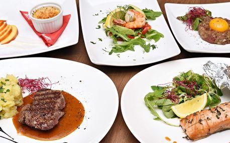 4chodové degustační menu, výběr chodů ze 2 verzí