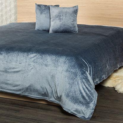 4Home Přehoz na postel Salazar šedomodrá, 220 x 240 cm, 2x 40x40 cm