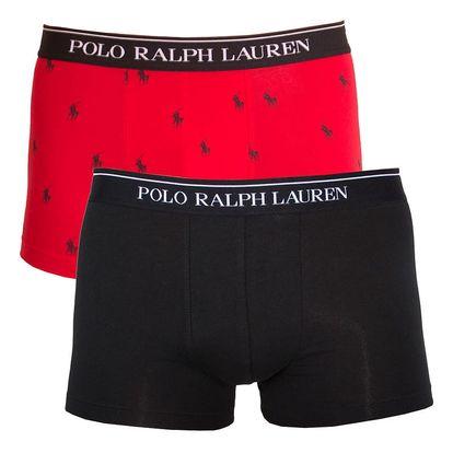 2PACK pánské boxerky Ralph Lauren černo červené s logem M