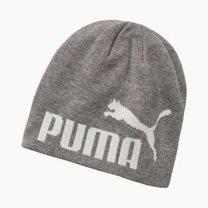 Čepice Puma Ess Big Cat Beanie Light Gray Heather-White Šedá
