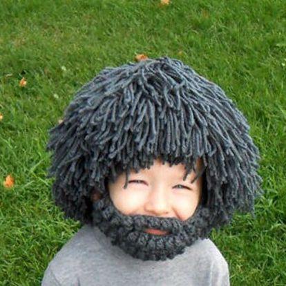 Pletená čepice s plnovousem a vlasy - pro muže a děti