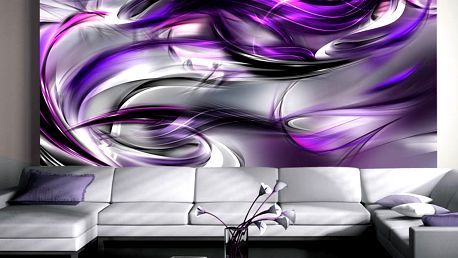 Bimago Fototapeta - Purple Swirls 200x140 cm
