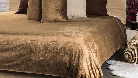 4Home Přehoz na postel Salazar hnědá, 220 x 240 cm, 2x 40 x 40 cm