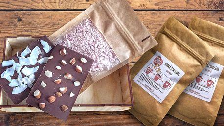 Dárková sada čokolády a směs na horkou čokoládu