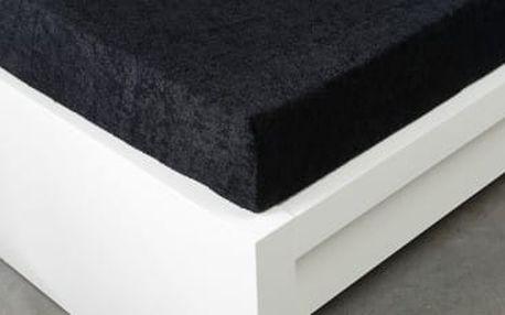 XPOSE ® Froté prostěradlo Exclusive dvoulůžko - černá 200x220 cm