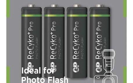 Baterie nabíjecí GP Pro Photo & Flash AA, HR6, 2600mAh, Ni-MH, krabička 4ks (1033224260) černá